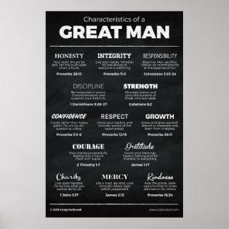 Características de um grande homem pôster