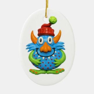 Caráter manchado doce m de ChristmasMonster do Ornamento De Cerâmica Oval