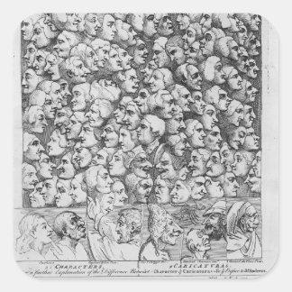 Caráteres e caricaturas adesivo quadrado