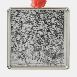 Caráteres e caricaturas ornamento quadrado cor prata