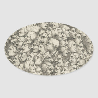 Caráteres e Caricaturas por William Hogarth Adesivo Oval