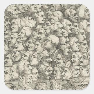 Caráteres e Caricaturas por William Hogarth Adesivo Quadrado