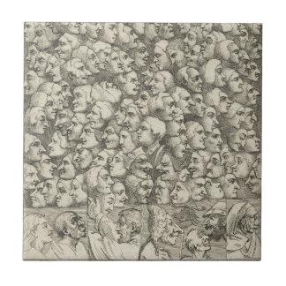 Caráteres e Caricaturas por William Hogarth Azulejo Quadrado Pequeno