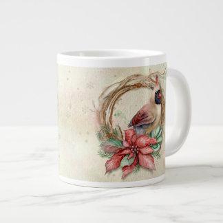 Cardeal do inverno com poinsétia - neve jumbo mug