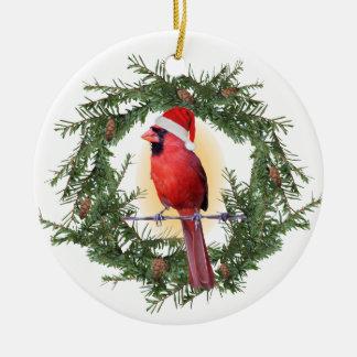 Cardeal do Natal Ornamento De Cerâmica Redondo