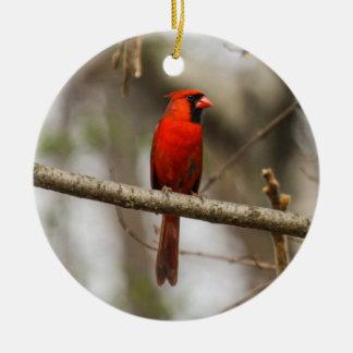 Cardeal do norte ornamento de cerâmica redondo