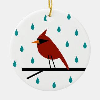 Cardeal na chuva ornamento de cerâmica redondo