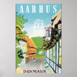 Cargo das viagens vintage de Aarhus Danmark Pôster