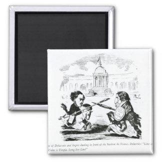 Caricatura de Delacroix e de Ingres Ímã Quadrado