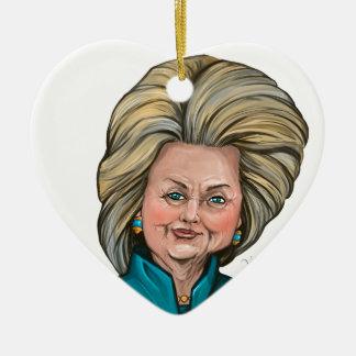Caricatura de Hillary Clinton Ornamento De Cerâmica Coração