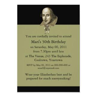 Caricatura de Shakespeare Convite Personalizados