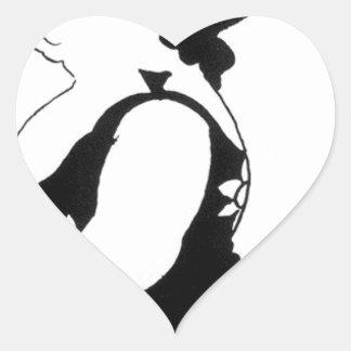Caricatura de uma figura em um vestido do girassol adesivo coração