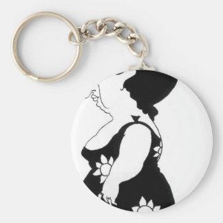 Caricatura de uma figura em um vestido do girassol chaveiro