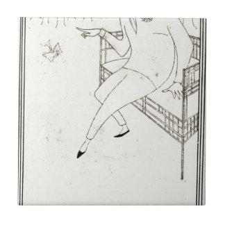 Caricatura do assobiador de James McNeill por Azulejo Quadrado Pequeno