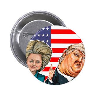 Caricatura do trunfo e da Hillary Bóton Redondo 5.08cm