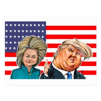 Caricatura do trunfo e da Hillary Cartão Postal