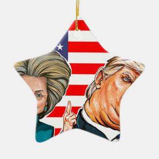 Caricatura do trunfo e da Hillary Ornamento De Cerâmica Estrela