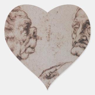 Caricatura por Leonardo da Vinci Adesivo Coração