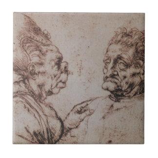Caricatura por Leonardo da Vinci Azulejo Quadrado Pequeno