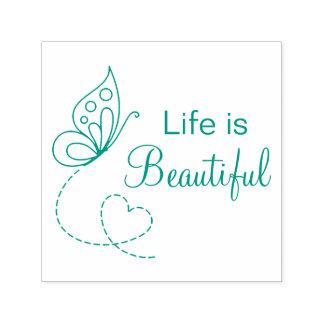 Carimbo Auto Entintado Coração da borboleta - a vida é bonita