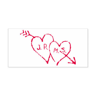 Carimbo Auto Entintado Iniciais românticas gravadas nos corações