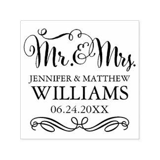 Carimbo Auto Entintado Sr. & Sra. do monograma | do casamento