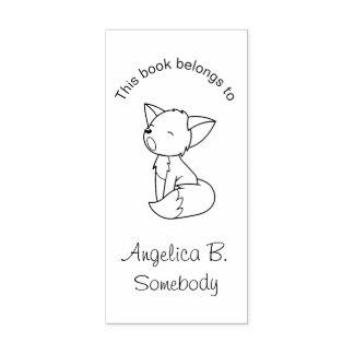 Carimbo De Borracha Bookplate pequeno sonolento do Fox