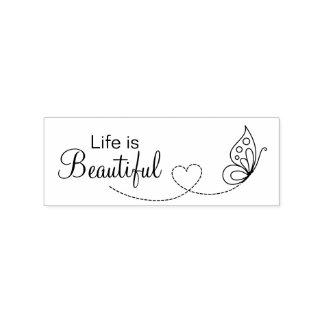 Carimbo De Borracha Coração da borboleta - a vida é bonita