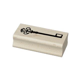 Carimbo de borracha de madeira chave antigo