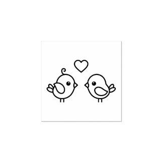 Carimbo De Borracha Lovebirds - pares de pássaros bonitos dos desenhos