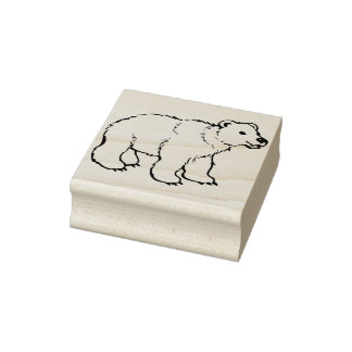 Carimbo De Borracha selo da arte da ilustração do urso polar do bebê