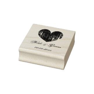 Carimbo De Borracha Selo de madeira do casamento da arte com coração e