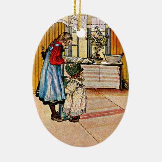 Carl Larsson - a cozinha Ornamento De Cerâmica Oval