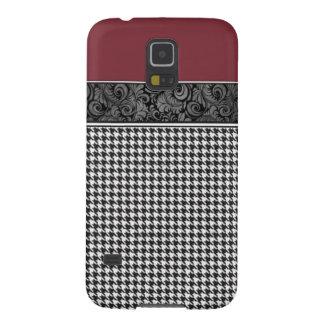 Carmesins e Houndstooth Capas Par Galaxy S5