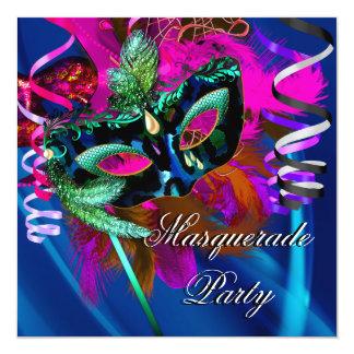Carnaval cor-de-rosa azul do preto da máscara do convite personalizados