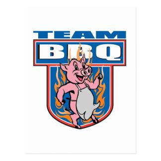 Carne de porco do CHURRASCO da equipe Cartão Postal