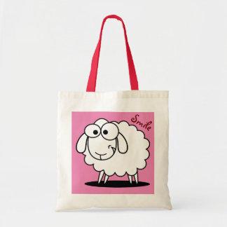 Carneiros engraçados bonitos cor-de-rosa bolsa tote