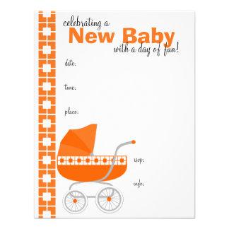 carrinho de bebê alaranjado convite personalizados
