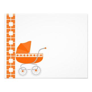carrinho de bebê alaranjado convites personalizados