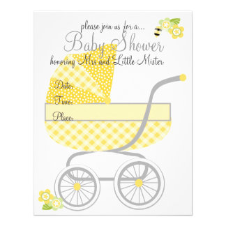 Carrinho de bebê amarelo do guingão convite personalizados