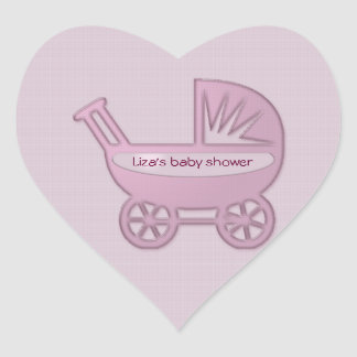 carrinho de bebê cor-de-rosa adesivo em forma de coração