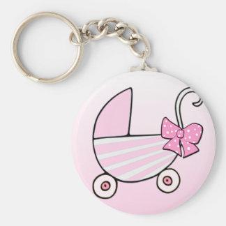 Carrinho de bebê cor-de-rosa do bebé chaveiro