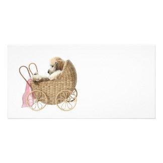 Carrinho de bebê da caniche cartao com fotos personalizado