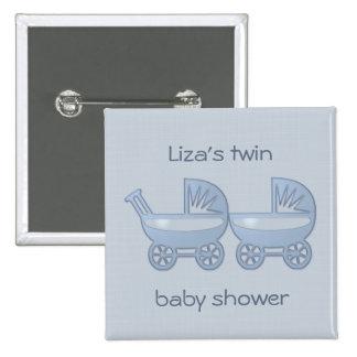 carrinho de bebê gêmeo azul botons