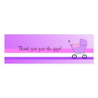Carrinho de bebê roxo cartão de visita