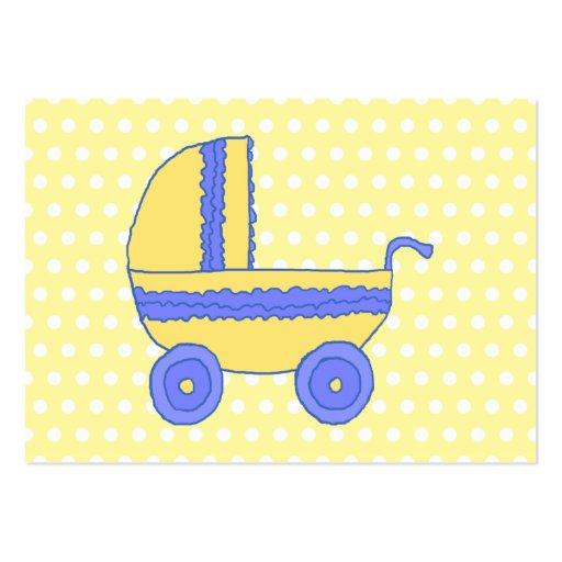 Carrinho de criança de bebê amarelo e azul cartoes de visita