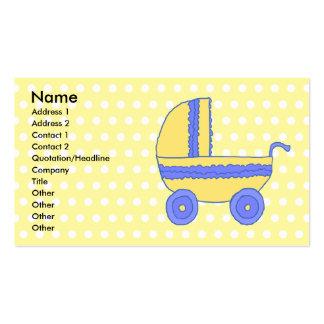 Carrinho de criança de bebê amarelo e azul cartões de visitas