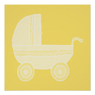 Carrinho de criança de bebê amarelo impressão