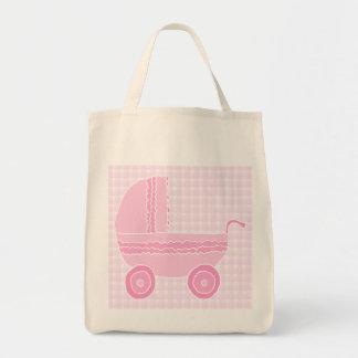 Carrinho de criança de bebê. Luz - rosa no guingão Bolsa