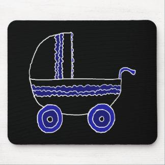 Carrinho de criança de bebê preto e azul mouse pad